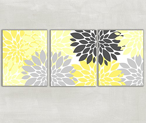 Floral Dahlia Peony Yellow Pewter and Gray Wall Art Set of 3 5x7 or 8x10 Prints (Yellow And Grey Wall Decor)