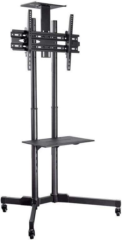 Monoprice Select Series Tilt TV Wall Mount Bracket Stand Cart with Media Shelf – For TVs 32in to 70in Max Weight 110lbs VESA Patterns Up to 600×400 Height Adjustable UL Certified