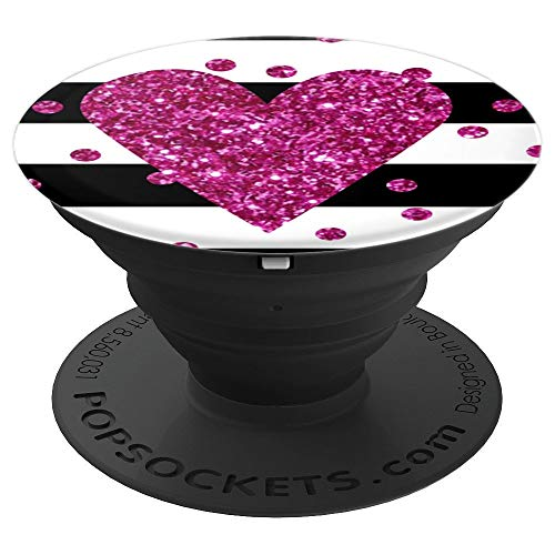 Heart Bling Bling (Black White Stripes Pink Bling Love Heart Pop Socket Stand - PopSockets Grip and Stand for Phones and Tablets)