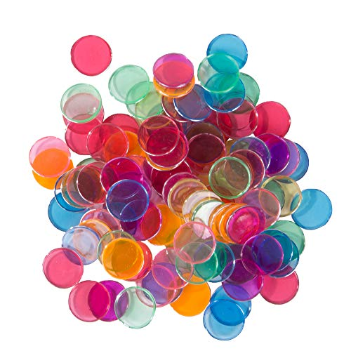 (Plastic Magnetic Bingo Chips - Metal Edge - Assorted - 300pcs (Blue, Green, Orange, Pink, Red, Purple) - 3/4
