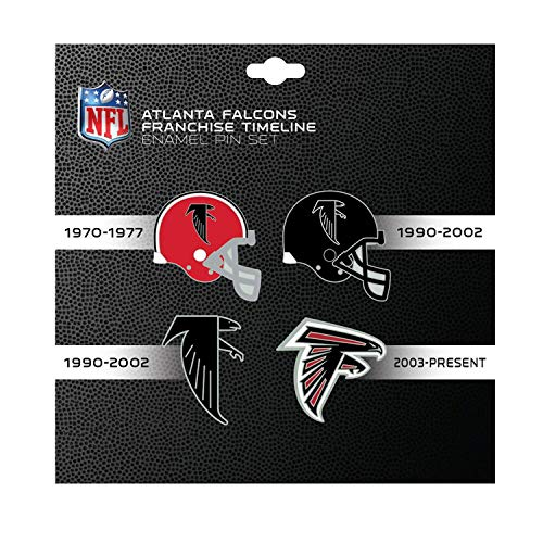 (NFL Atlanta Falcons Sports Team Logo 4 Pin Set Franchise Timeline Collectible Throwback)