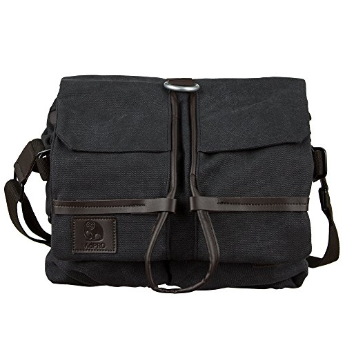 VidPro Canvas Camera Messenger Bag with Removable Organizer, Padded Lining, Crossbody Shoulder Strap for All Cameras and Accessories, Black. by VidPro