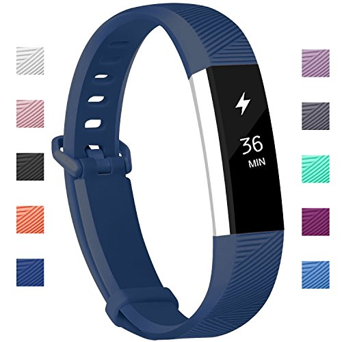 Fundro Compatible Fitbit Alta HR Bands, Newest Sport Replacement Wristbands Secure Metal Buckle Fitbit Alta HR/Fitbit Alta (C# 1-Pack Navy Blue, Small (6.2-7.1))