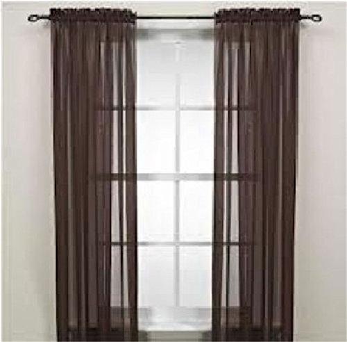 Valances Colors Floral Tulle Voile Door Window Curtain Drape Panel Sheer (dark - Coffee Ascot
