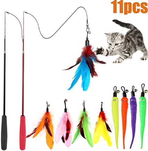 MeoHui 11PCS Retractable Cat Feather Toy Set, Interactive Cat Toys Wand with 2 Poles & 9 Attachments Worm Bird Feathers, Cat Feather Teaser Wand Toy for Kitten Cat Having Fun Exercise Playing 2