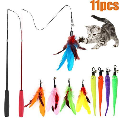 Cat Feather Toy, Retractable Cat Toys Wand 2 Wands & 9 Assorted Teaser Refills, Interactive Feather Teaser Wand Toy Bell Kitten Cat Having Fun Exerciser Playing ()