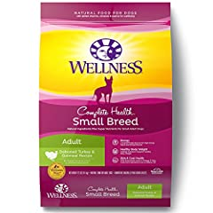 Wellness Complete Health Natural Dry Dog Food, Small Breed Turkey & Oatmeal Recipe, is healthy, natural dog food for adult small breed dogs featuring a smaller kibble size for smaller mouths and made with carefully chosen, authentic ingre...