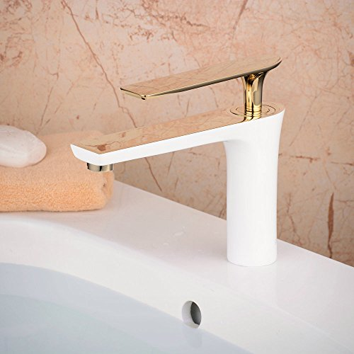 Hiendure Single Handle Brass Bathroom Faucet White Painting And Gold - Bathroom faucet cost