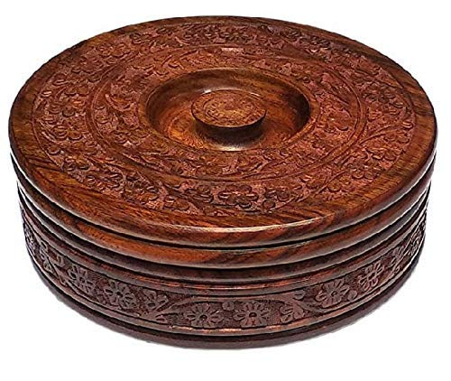 AR Handicrafts Wooden Round Chapati Container Roti Box Serving Casseroles  Brown, 8 Inch