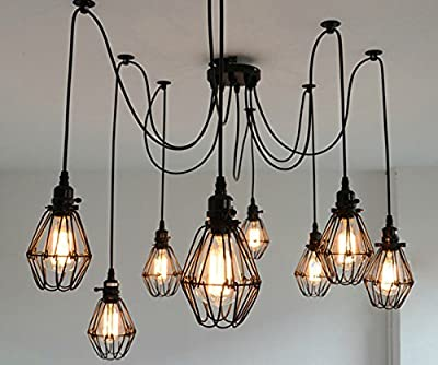 SUSUO Lighting Multiple Wire Cage Pendant Lighting Chandelier Spider Lamp Modern Indoor Ceiling Lighting Fixture 8 Heads E26/E27