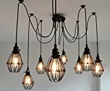 SUSUO Lighting Multiple Wire Cage Pendant Lighting Chandelier Spider Lamp Modern Indoor Ceiling Lighting Fixture 8 Heads E26/E27 For Sale