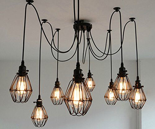 SUSUO Lighting Multiple Wire Cage Pendant Lighting Chandelier Spider Lamp Modern Indoor Ceiling Lighting Fixture 8 Heads E26/E27