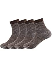 Men's Merino Wool Hiking Socks-Thermal Warm Crew Winter Ankle Socks for Trekking,Multi Performance,Outdoor Skiing,4 Pack