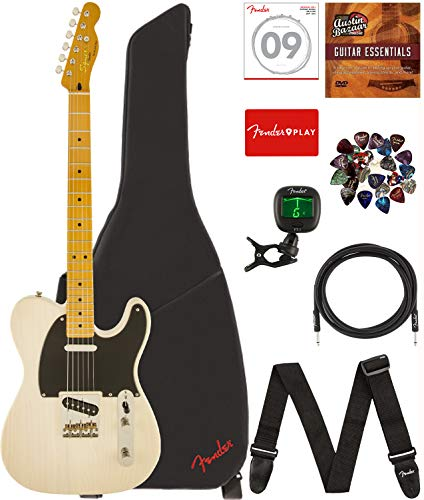 Fender Squier 0303025507, Classic Vibe Telecaster '50s - Vintage Blonde Bundle with Gig Bag, Tuner, Strap, Picks, Strings, Instrument Cable, and Austin Bazaar Instructional DVD