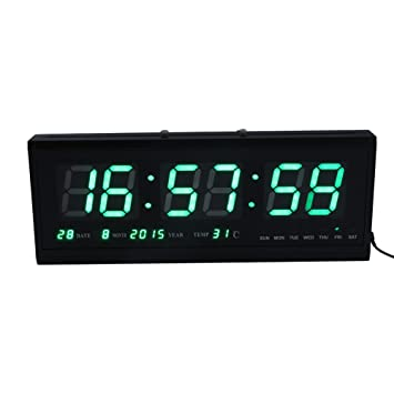Reloj de pared grande verde LED Digital alarma del reloj temporizador de la batería con la