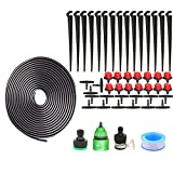 Distribution Drip Irrigation Kit Automatic Plant Watering System + Atomizing Nozzle Mister Dripper Micro Flow Misting Cooling System Saving Water for Lawn Greenhouse Landscaping Patio Herbs 10M Hose