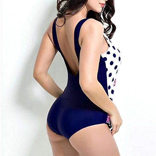 HXQ Mujeres Una pieza Bikini escotado por detrás Impresión Trajes de baño Amplio Bandolera white spots