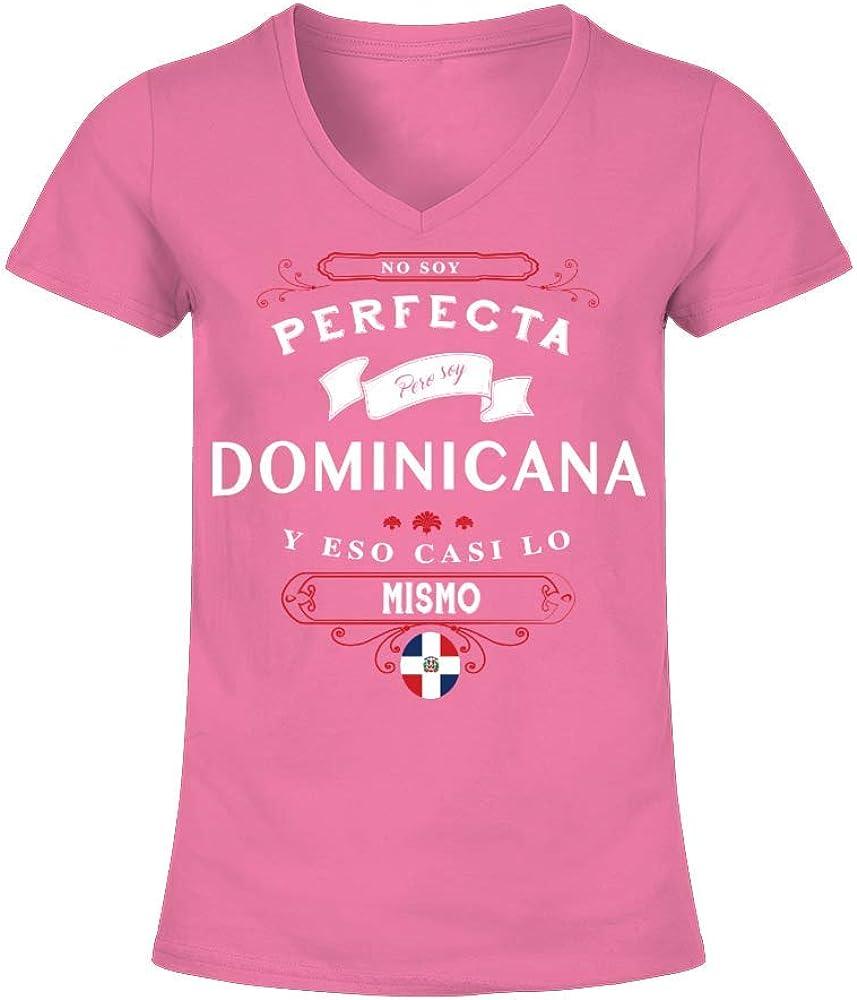 TEEZILY Camiseta de Pico Mujer Dominicana y eso es Casi lo Mismo