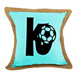 ''K '' Soccer Initial Monogram Letter K Bed Home Decor Faux Linen Pillow Cover Turquoise