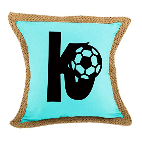 ''K '' Soccer Initial Monogram Letter K Bed Home Decor Faux Linen Pillow Cover Turquoise by Style in Print