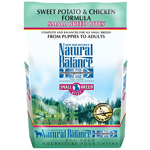 - Natural Balance Small Breed Bites L.I.D. Limited Ingredient Diets Dry Dog Food, Grain Free, Sweet Potato & Chicken Formula, 4.5-Pound