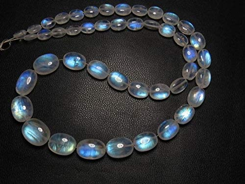 Jewel Beads Gems-Jewellery Awesome - AAAA - High Quality So Gorgeous - Rainbow MOONSTONE - Smooth Oval Briolett Blue Fire size - 5-11 mm - 14 Inches