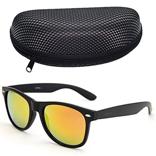 LotFancy Mirrored Sunglasses Horned Plastic