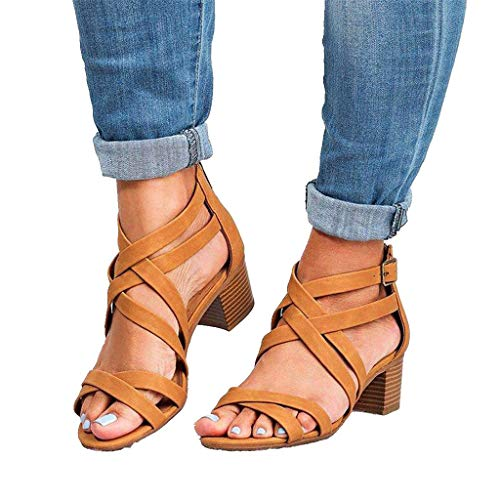 Women's Strappy Buckle Accent Zip Heel Flat Ankle High Sandal Brown]()