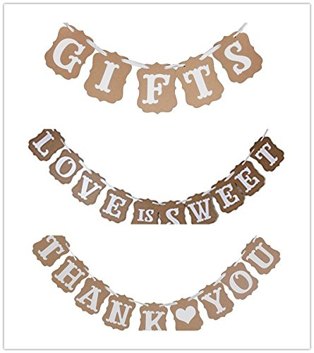 LOVE IS SWEET, THANK YOU, GIFTS Vintage Wedding Party Bunting Banner Scalloped Kraft Paper Garland Photo Booth