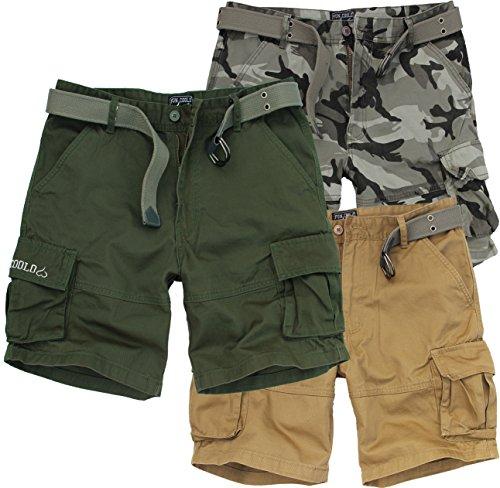 a basso prezzo 76396 691cd Fun Coolo Pantaloncini Corti Bermuda Cargo Short con tasconi Laterali, con  Cintura