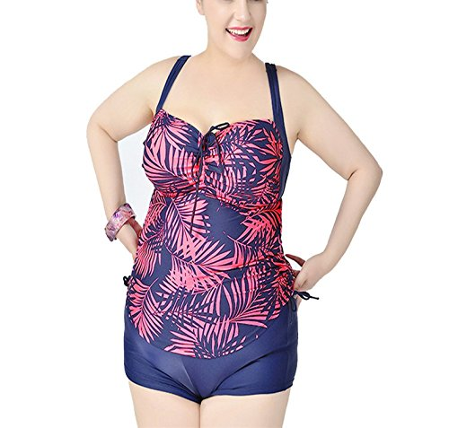 LOKOUO Athletic-two-piece-swimsuits Lokouo Plus Size Paragraph Split Conservative Swimwear,XX-Large,Pink