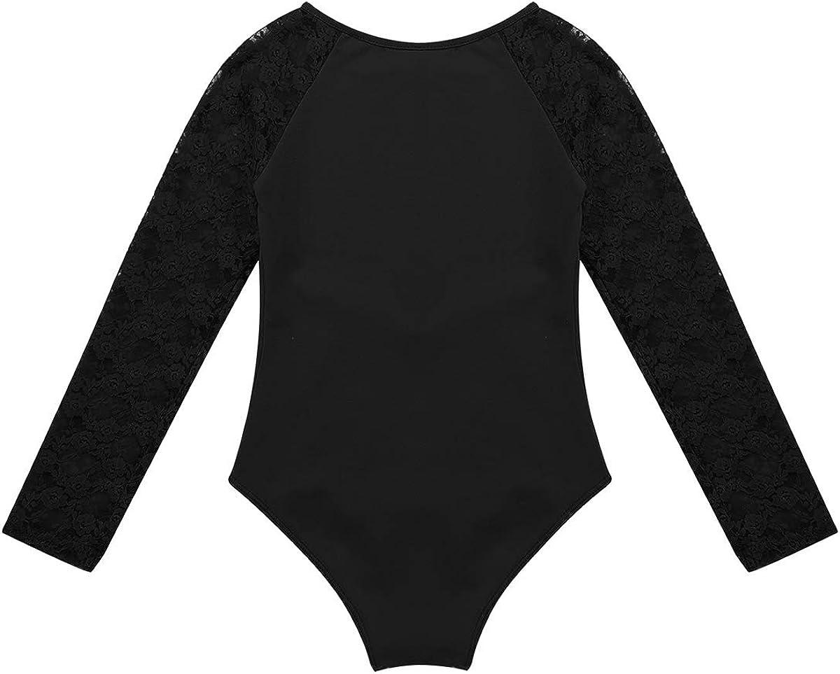 inlzdz M/ädchen Ballettanzug Langarm Spitze Tanz Body aus Baumwolle Ballett Trikot Turnanzug Gymnastikanzug Kinder Tanzkleidung