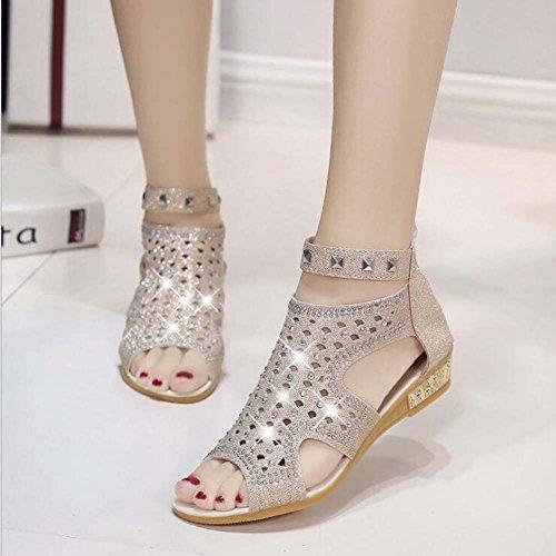 de 36 Sandalias de con de Toe Remache Cabeza Tamaño Negro Peep Plata Plata Cremallera 40 Pescado Zapatos Mujeres Piso Beige Diamantes Antideslizante de Zapatos Las 6wnqxBxXYp