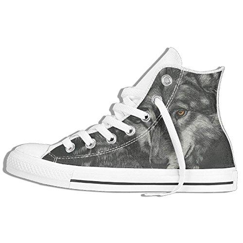 Classiche Sneakers Alte Scarpe Di Tela Anti-skid Pittura Lupo Casual Walking Per Uomo Donna Bianco