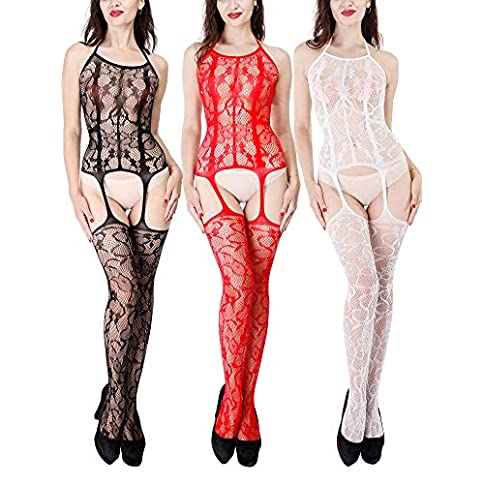 - 51TT5NnmOpL - 3 Pieces Women's Lace Stockings Lingerie Floral Fishnet Bodysuits Lingerie Nightwear for Romantic Date Wearing