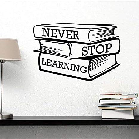 Lettering Estudio Libros Wall Sticker Nunca Dejar De