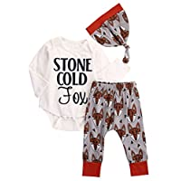 Newborn Girl Boy Cotton Romper Jumpsuit Fox Pants 3pcs Baby Outfits Set Cloth...