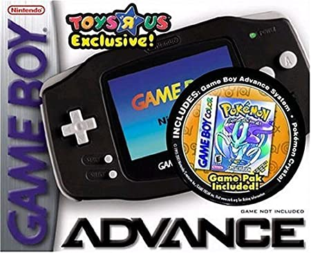 Black Game Boy Advance with Pokemon Crystal