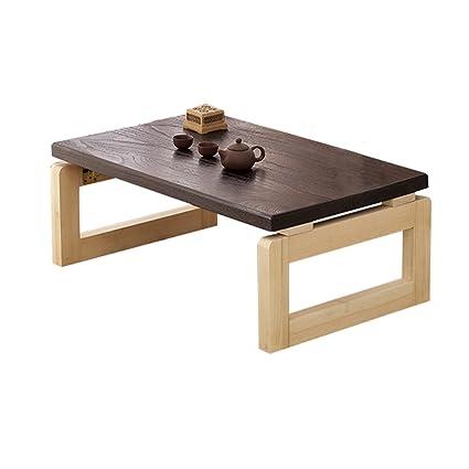 ZWD Mesa pequeña Creativa, Mesa de té de Madera Maciza Estilo japonés Decoración Mesa Baja