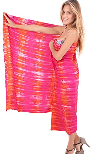 La Leela Rayon Hawaii Women Beach Bikini Swimwear Swimsuit Pareo Slit Skirt sarong Hand Tie Dye Pink Orange one Size
