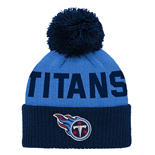 (Outerstuff NFL Tennessee Titans Jacquard Cuffed Knit Hat with Pom Dark Navy, Infant One)