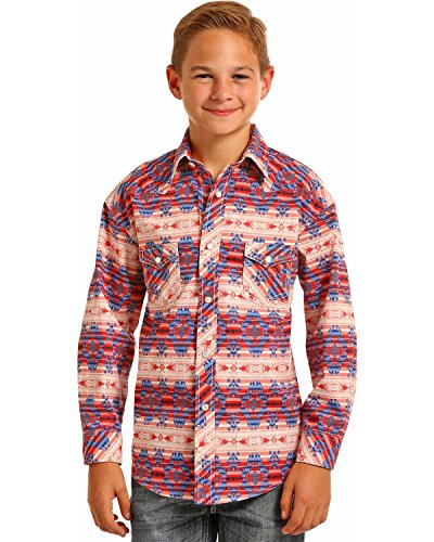 Aztec Print Shirt - Rock & Roll Cowboy Boys' and Aztec Print Long Sleeve Snap Shirt Multi Medium