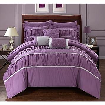 Modernes schlafzimmer lila  10 Stück Queen lila Gerüscht Tröster Set, Fancy Luxuriöse Betten ...