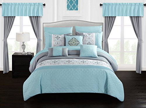 Chic Home Emily 20 Piece Comforter Set Color Block Floral Embroidered Bag Bedding, Queen Aqua Blue