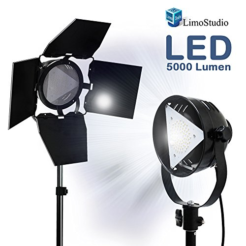 LimoStudio Premium Barn Door LED Accent Light 4500Lm / 5700K / 50W with Power Cable, On/Off Switch, Fuse Socket and Tripod Light Stand, Photography Studio, AGG1838 by LimoStudio