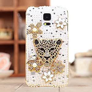 Fully Jewelled Diamond Pearl Leopard Head Fishbone Back Cover Case for SAMSUNG Galaxy S5 I9600