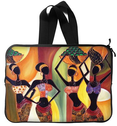 Afro American Women 15 inch Handle Laptop Netbook Notebook Slipcase Sleeve Soft Case Cover 15'' (Twin (Book Slipcase)
