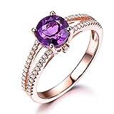 Purple Amethyst 925 Sterling Silver Rose Gold Engagement Ring CZ Cubic Zirconia Diamond Split Shank Band