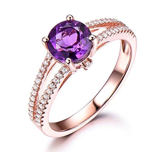 Purple Amethyst 925 Sterling Silver Rose Gold Engagement Ring CZ Cubic Zirconia Diamond Split Shank Band by Milejewel Amethyst Engagement Ring