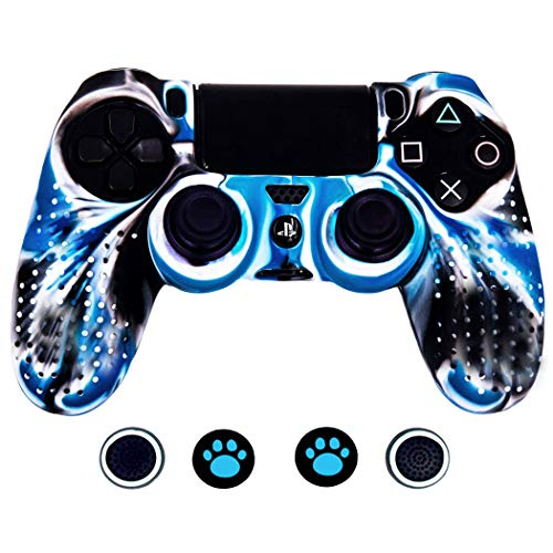 - Taifond Anti-Slip Silicone Controller Cover Protective Skins for PS4/SLIM/PRO Controller with 4 Thumb Grip Caps (White&Blue)